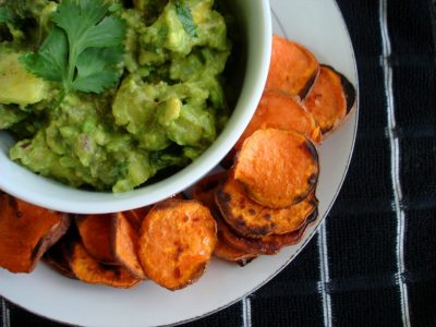 Pineapple Guacamole With Grilled Sweet Potato Chips